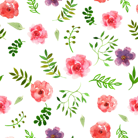 seamless bacground: Vector illustration of floral seamless. Colorful floral collection with leaves and flowers, drawing watercolor on white bacground