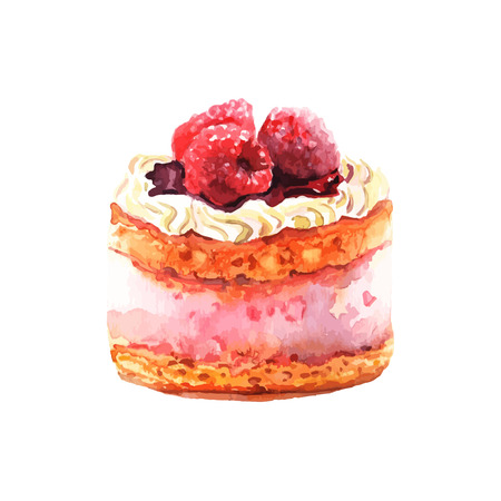 cake decorating: Vector illustration. Hand drawn isolated cake with watercolor texture. Cake with cream, jam, raspberries. Hand painted sweet cake on white background.