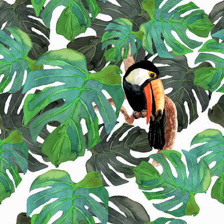 palm wreath: Tropical seamless background. Bird toucan sitting on tree branch whith isolated monster leafs on white background.