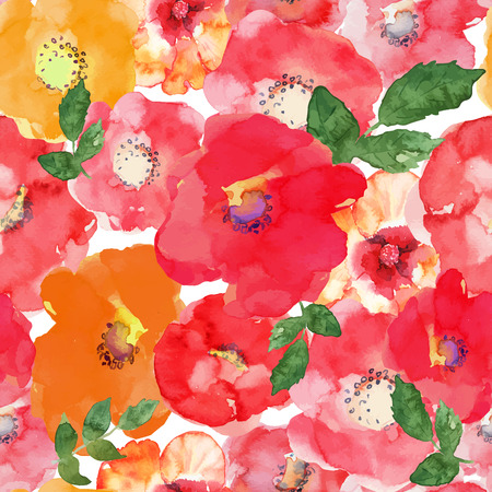 Abstract seamless watercolor hand painted background. Isolated red, orange, yellow flowers and green leafs. Vector illustration. Vettoriali