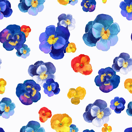 Vector illustration of floral seamless.Blue, red and yellow flowers on a white background, drawing watercolor.