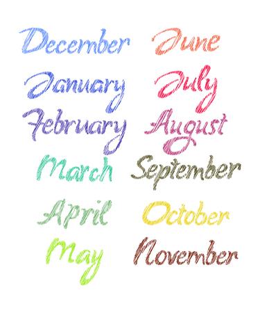 months: Handwritten months of the year. Vector illustration. Illustration