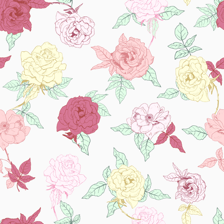 Vector illustration of floral seamless. Isolated red, yellow, pink roses and leaves on white background. Illustration