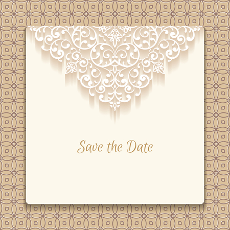 lace: Save the date card with lace decoration, vintage wedding invitation or announcement template.