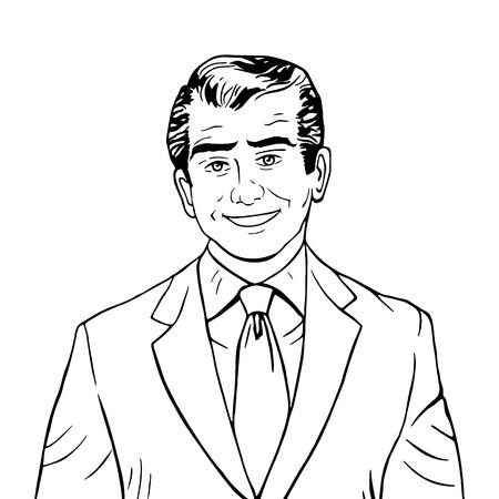 male face: Businessman listens concept line art retro style Illustration