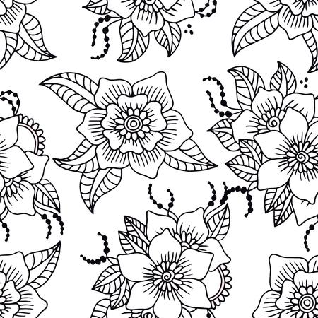 rosas negras: patr�n abstracto sin fisuras con dibujado a mano las flores blancas con contorno negro. Ilustraci�n del vector.