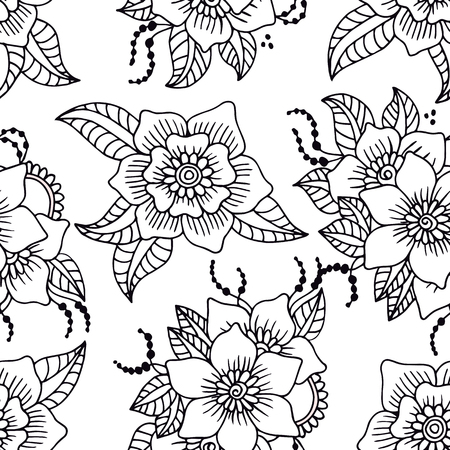 Abstract seamless pattern with hand drawn white flowers with black outline. Vector illustration. Illustration