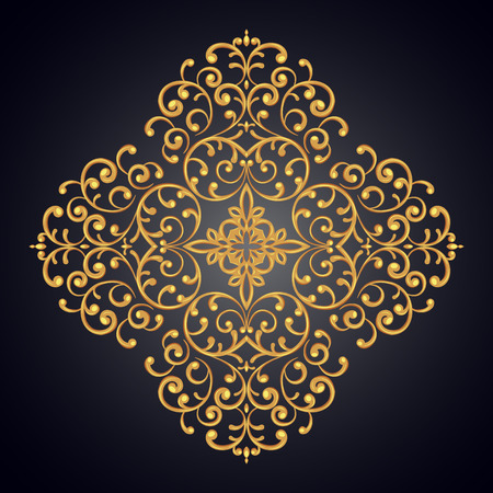 gold lace: Elegant background with gold lace ornament. Vector illustration.