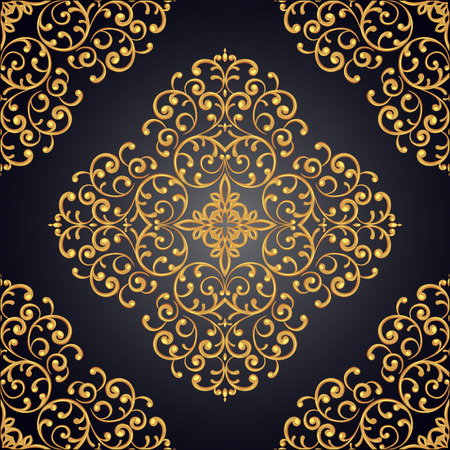 gold lace: Elegant seamless background with gold lace ornament. Vector illustration.