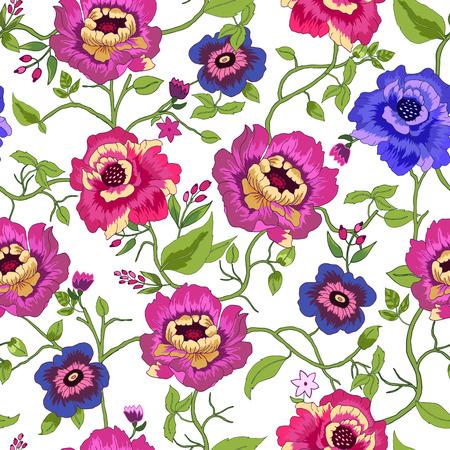 Vector illustratie van bloemen naadloos. Geïsoleerd kleurrijke bloemen en bladeren op een witte achtergrond.