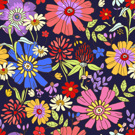 illustration of floral seamless. Isolated colorful flowers and leaves on dark blue background. Stok Fotoğraf - 50174432