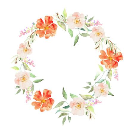 bloemen set. Elegante bloemen collectie met bladeren en bloemen, aquarel. Ontwerp voor de uitnodiging, huwelijk of wenskaarten Vector Illustratie