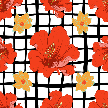circle flower: Abstract geometric seamless pattern with black strips and isolated red, yellow flowers. illustration.