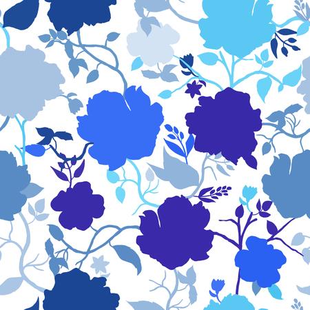 Abstrakte nahtlose Muster mit Hand isoliert blauen Blumen Silhouetten auf weißem Hintergrund gezeichnet. Vektor-Illustration.