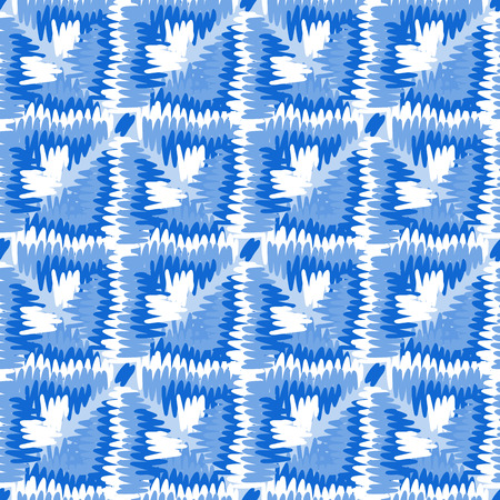 polynesian ethnicity: Tribal vector seamless pattern. Hand drawn abstract background. Isolated on blue background. Illustration