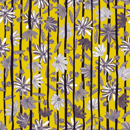 Illustration vectorielle de floral sans soudure. Fleurs isolées grises et blanches avec des bandes noires sur un fond jaune.
