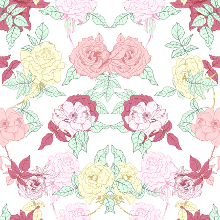 Seamless floral background.Hand drawn roses isolated on white background. Vector illustration. Ilustrace