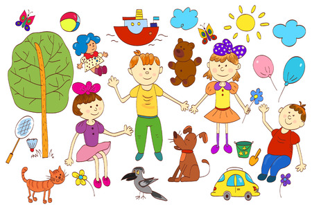 cartoon dog: Doodle set of cute childs life including pets, toys, plants, things for sport and celestial elements. Vector illustration. Illustration