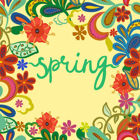 """Greeting card, invitation, banner, print. Frame for your text with floral background and isolated text """"spring"""". Vector illustration."""