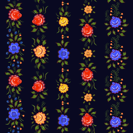 seamless bacground: Seamless Folk borders. Isolated colorful flowers and leafs on black bacground. Vector illustration.