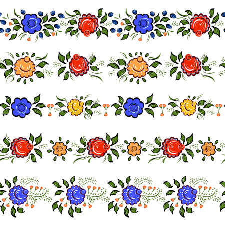 seamless bacground: Seamless Folk borders. Isolated colorful flowers and leafs on white bacground. Vector illustration. Illustration