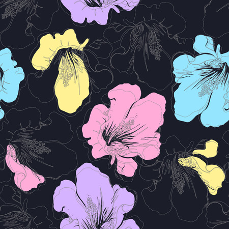 blue flower: Abstract seamless pattern with hand drawing isolated flowers. Vector illustration.