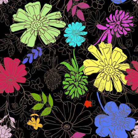 Abstract naadloos patroon met de hand tekenen geïsoleerd bloemen. Vector illustratie.