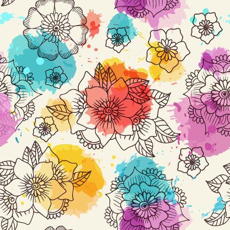 Fondo floral sin fisuras. Mano dibujados flores y hojas con acuarela de imitación en el fondo. Ilustración del vector.