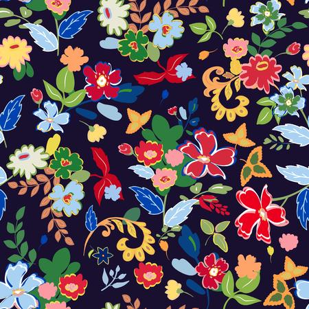 手描きの孤立した花と抽象的なシームレス パターン。ベクトルの図。
