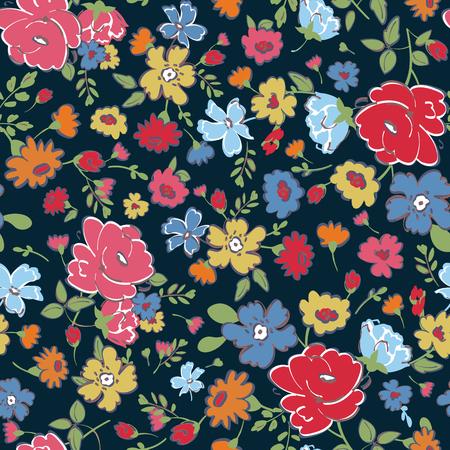 Modèle sans couture abstraite avec main, dessin de fleurs isolées. Illustration vectorielle