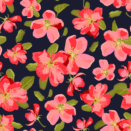 appletree: Abstract seamless pattern with isolated hand drawn flowers. Apple-tree flowers . Sakura flowers. Vector illustration.