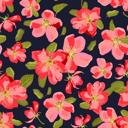 patrón abstracto sin fisuras con flores aislados dibujados a mano. Manzano flores. Flores de Sakura. Ilustración del vector.