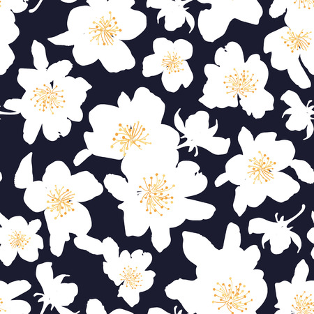 appletree: Abstract seamless pattern with isolated hand drawn white flowers. Apple-tree flowers . Sakura flowers. Vector illustration.