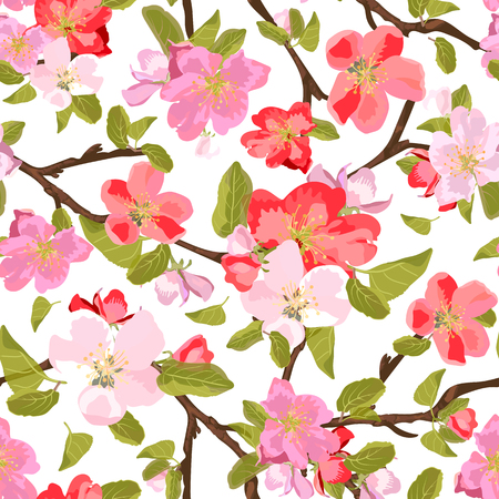 appletree: Abstract seamless pattern with isolated hand drawn flowers on branch. Apple-tree flowers . Sakura flowers. Vector illustration.