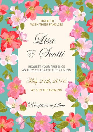 Invito floreale di nozze con fiori primaverili colorati. Illustrazione vettoriale