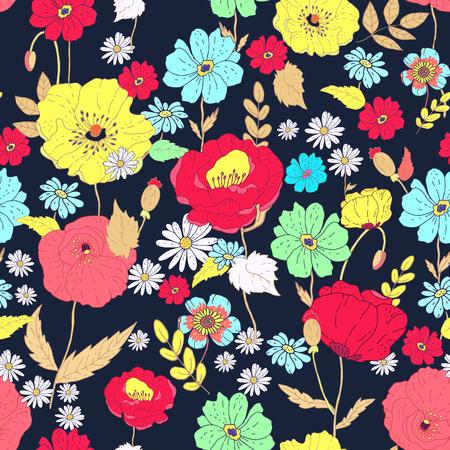 Nahtlose Blumen background.Isolated Blumen und Blätter auf blauem Hintergrund. Illustration.