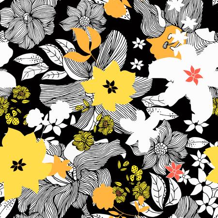 Abstrakte nahtlose Gekritzelmuster mit isolierten schwarz und weiß, gelben Blüten. Vektor-Illustration.