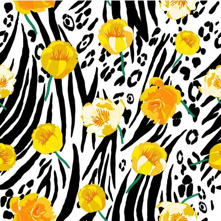 Resumen sin patrón de piel de animal con las flores amarillas. Ilustración del vector.