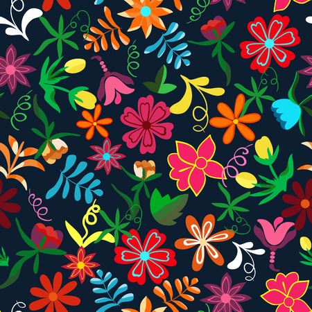 Seamless floral background.Colorful flowers and leafs on dark blue background.Traditional Mexican pattern. Vector illustration.