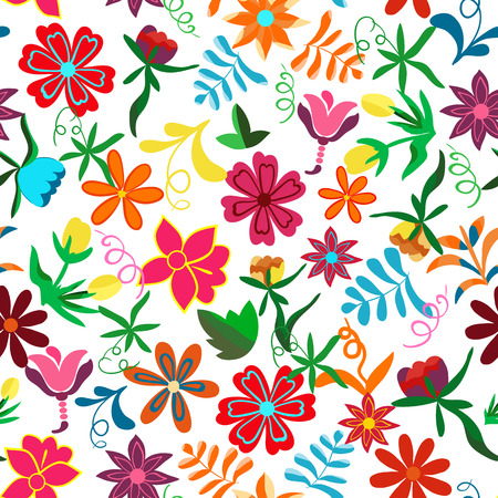 Seamless floral background.Colorful flowers and leafs on white background.Traditional Mexican pattern. Vector illustration. Çizim
