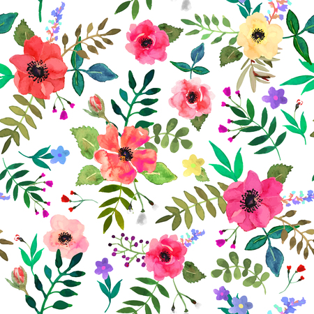Seamless floral  background. Isolated red flowers and leafs drawn watercolor on white background. Vector illustration.