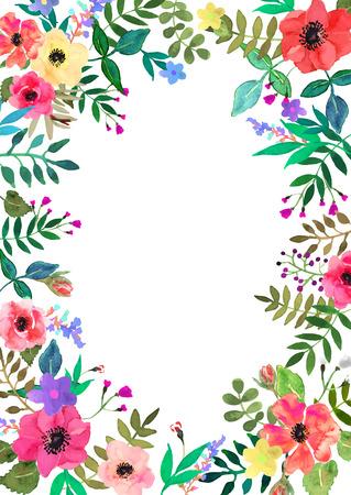 establecen flores del vector. colección floral con las hojas y las flores, dibujo watercolor.Design para la invitación, boda o tarjetas de felicitación. Ilustración de vector