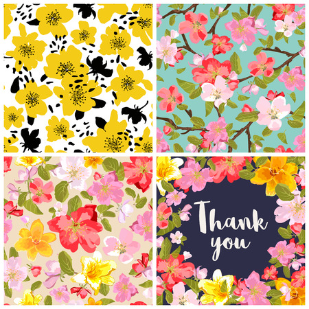 appletree: Set of floral backgrounds. Seamless floral pattern with yellow, red, pink hand drawn flowers. Thank you lettering in floral background. Spring and summer flowers. Sakura blossoms. Vector illustration. Illustration