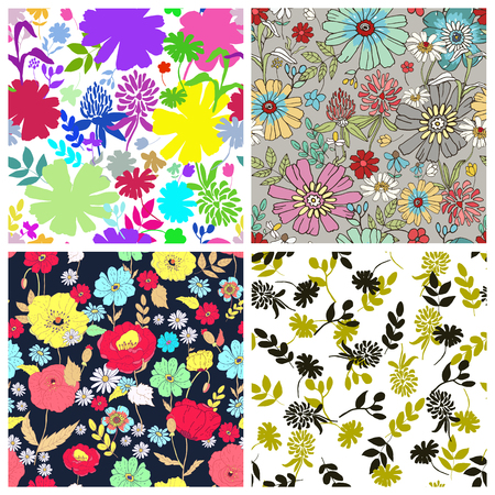 appletree: Set of seamless floral backgrounds. Seamless floral pattern with hand drawn flowers. Spring and summer flowers. Vector illustration.