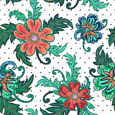 vintage floral pattern: Traditional oriental seamless paisley pattern. Vintage flowers background. Decorative ornament backdrop for fabric, textile, wrapping paper, card, invitation, wallpaper, web design. Isolated flowers and leaves.