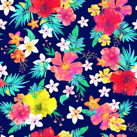 Seamless floral background. Tropical modello colorato. bei fiori e foglie isolato disegnati acquerello su sfondo blu.