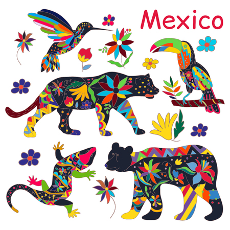 black bear: A set of isolated vector images of Mexican animals. The black bear , jaguar , toucan, lizards , hummingbirds. Traditional Mexican animals in colorful colors and flowers. Vector illustration.