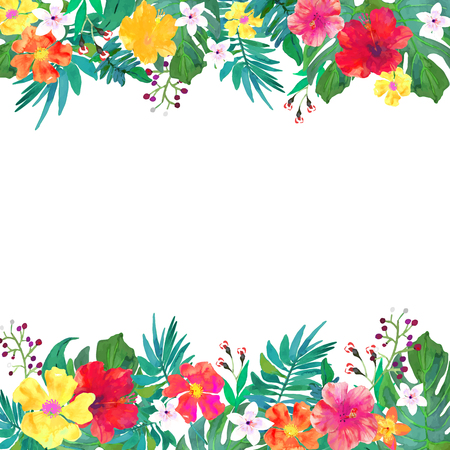 palm wreath: Greeting card, invitation, banner. Frame for your text with floral watercolor background. Editable isolated elements.