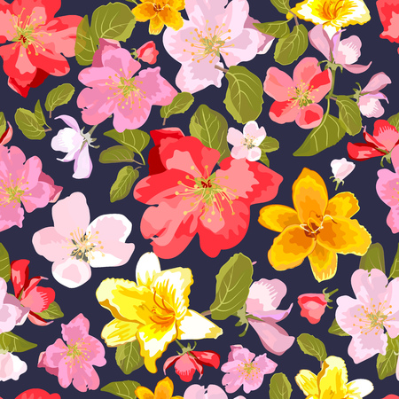 appletree: Abstract seamless pattern with colorful isolated hand drawn flowers.