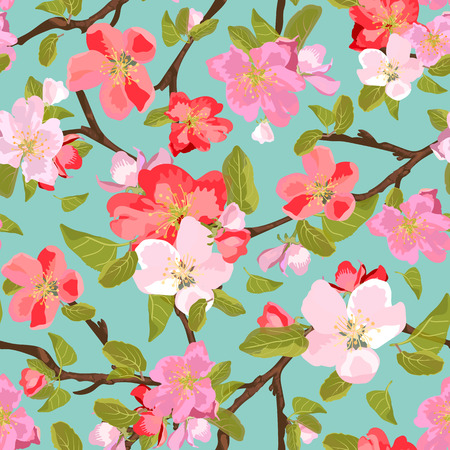 appletree: Abstract seamless pattern with isolated hand drawn flowers on branch. Apple-tree flowers . Sakura flowers. Stock Photo